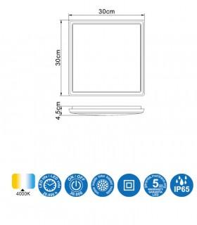 Características Plafón exterior Aneto 6487 30X30cm Mantra