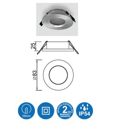 Características: Aro ATLANTIS GU10 IP54 Aluminio Plata Redondo Empotrable 6406 Mantra