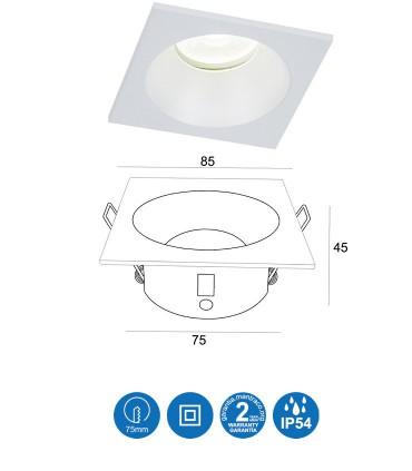 Medidas: Aro COMFORT GU10 IP54 Blanco Mate Cuadrado Empotrable 6812 Mantra