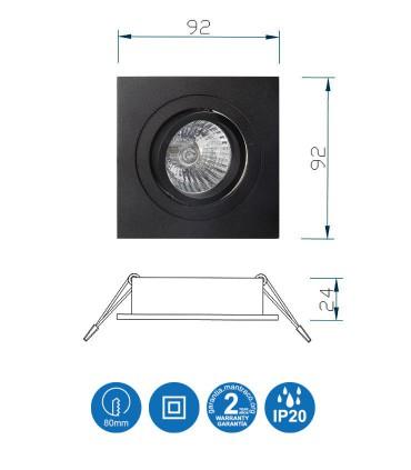 Características Aro Foco Empotrable Cuadrado Negro BASIC Orientable C0008 Mantra