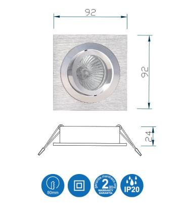 Características Aro Foco Empotrable Cuadrado BASIC Orientable C0002 Mantra