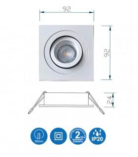 Características Aro Foco Empotrable Cuadrado Blanco BASIC  Orientable C0004 Mantra