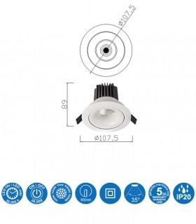 Características Foco Empotrable FORMENTERA LED 12W Blanco Basculante Mantra