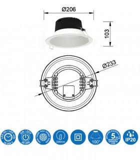 Características Downlight MEDANO 21W LED Blanco Circular Mantra