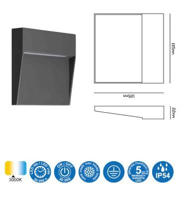 Características Señalizador Exterior BAKER GRIS OSC. Cuadrado 7011 Mantra