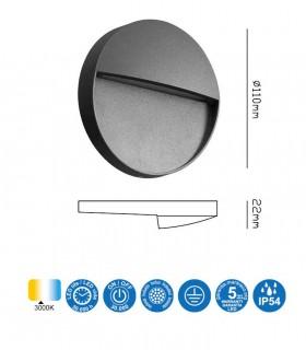 Características Señalizador Exterior BAKER 3w Redondo gris 7013 Mantra