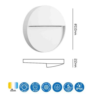 Características Señalizador Exterior BAKER 3w Redondo blanco 7012 Mantra