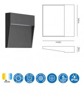 Características Señalizador Exterior BAKER 6w Cuadrado gris 7015 IP54 Mantra