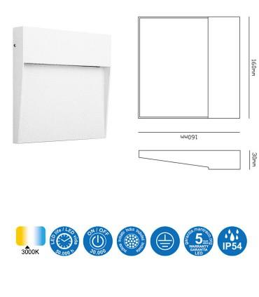 Características Señalizador Exterior BAKER 6w Cuadrado blanco 7016 IP54 Mantra