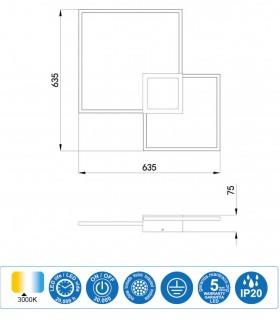 Características Plafón Aplique Mural 6564 blanco 48W Mantra
