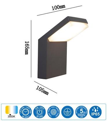 Características: Aplique Exterior Alpine Negro LED IP65 7045 Mantra