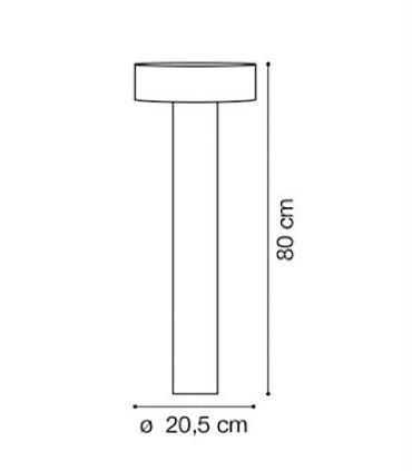 Medidas Baliza exterior TESLA PT4 80 cm antracita 153162 de Ideal Lux