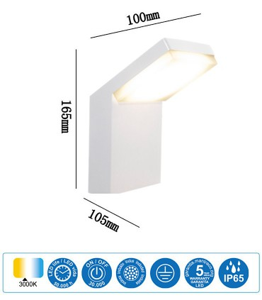 Características: Aplique Exterior Alpine Gris Blanco LED IP65 7046 Mantra