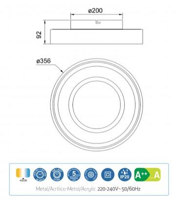 Características Plafón MOCA 30w LED 6785 Mantra
