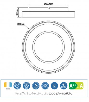 Características: Plafón MOCA 40w LED 6787 Mantra