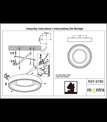 Montaje Plafón MOCA 30w LED 6785 Mantra