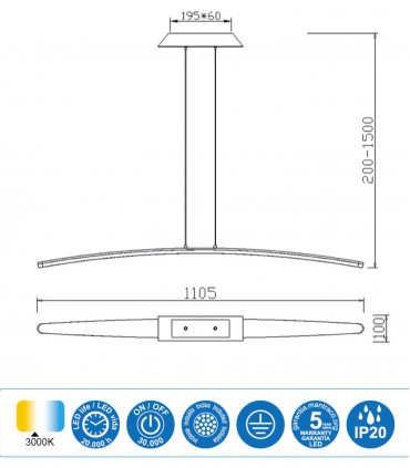 Características Lámpara Mantra HEMISFERIC 4080 28w 110cm