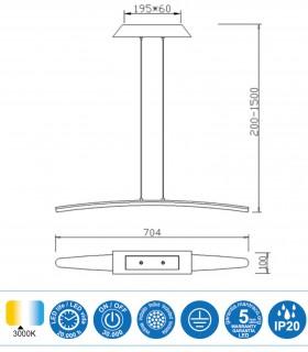 Características Lámpara Mantra HEMISFERIC 4081 20w 70.4cm