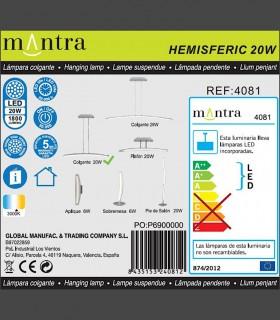Detalles técnicos Lámpara Mantra HEMISFERIC 4081 20w 70.4cm