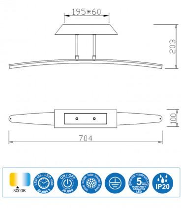Características Plafón Mantra HEMISFERIC 4083 20w 70.4cm