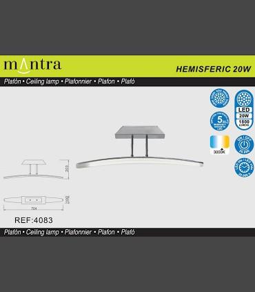 Especificaciones Plafón Mantra HEMISFERIC 4083 20w 70.4cm