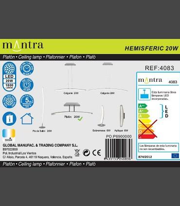 Detalles técnicos Plafón Mantra HEMISFERIC 4083 20w 70.4cm