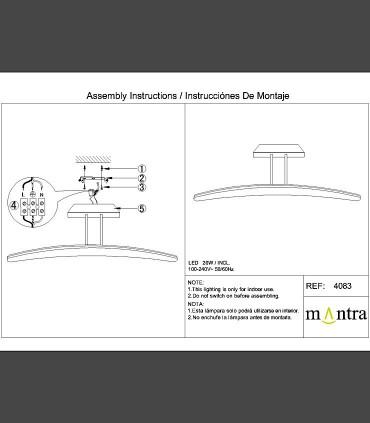 Instrucciones de montaje Plafón Mantra HEMISFERIC 4083 20w 70.4cm
