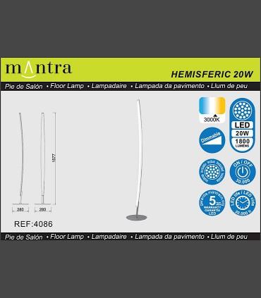 Especificaciones Lámpara de pie Mantra HEMISFERIC 4086 20w
