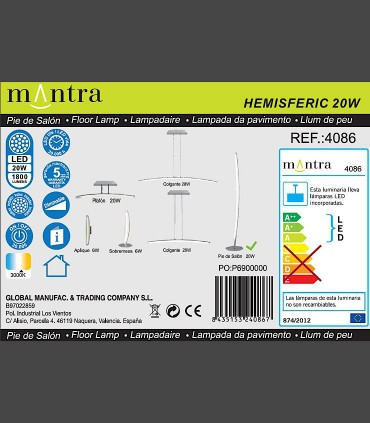 Detalles técnicos Lámpara de pie Mantra HEMISFERIC 4086 20w