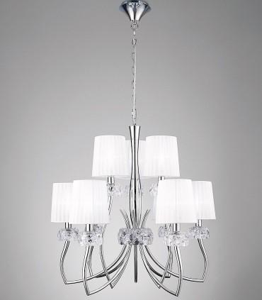 Lámpara LOEWE 9L E14 4630 cromo c/pantalla Mantra