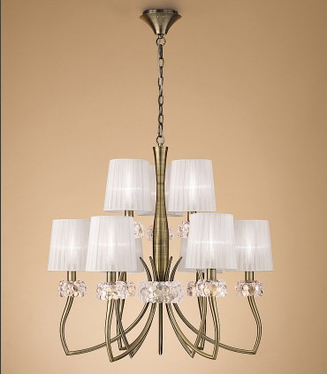Lámpara LOEWE 9L E14 4730 Cuero c/pantalla Mantra