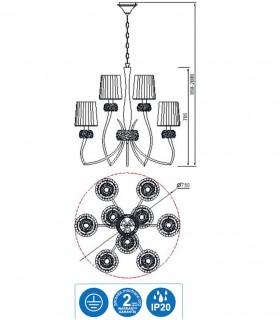 Características Lámpara LOEWE 9L E14 4730 Cuero c/pantalla Mantra