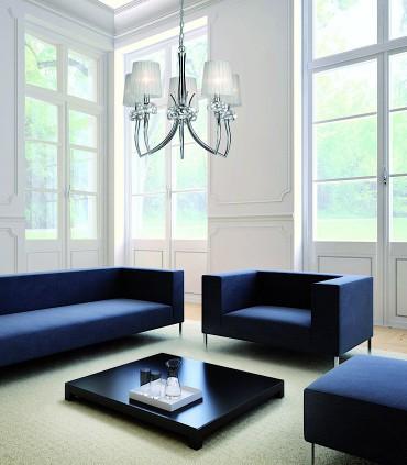 Lámpara LOEWE 5L E14 4631 cromo c/pantalla Mantra. Imagen de ambiente