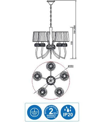 Características Lámpara LOEWE 5L E14 4731 Cuero c/pantalla Mantra