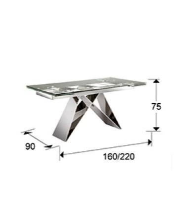 Mesa comedor extensible acero MIKA 160-220cm - Schuller 713016
