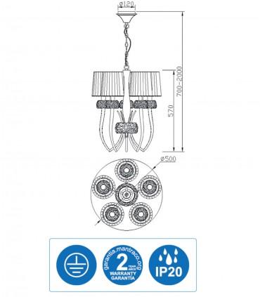 Características Lámpara LOEWE 5L E14 4632 cromo c/pantalla Mantra