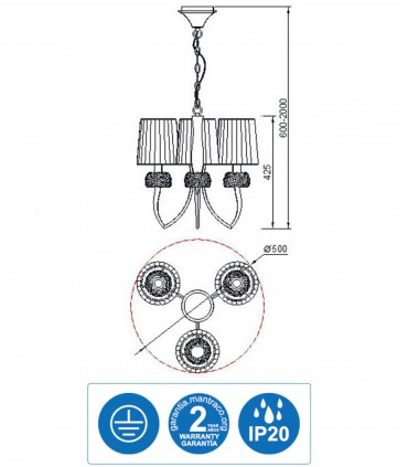 Características Lámpara LOEWE 3L E14 4633 cromo c/pantalla Mantra