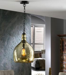 Lámpara LAIA con cristal ámbar 28cm.