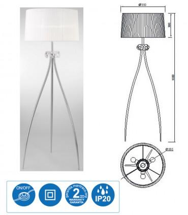 Características Lámpara de pie LOEWE 3L E27 4638 cromo c/pantalla Mantra