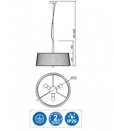 Características Lámpara de techo LOEWE 3L E27 4639 cromo c/pantalla Mantra