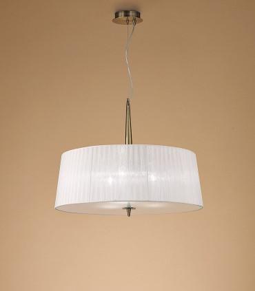 Lámpara de techo LOEWE 3L E27 4739 Cuero c/pantalla Mantra