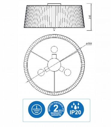 Características Plafón de techo pantalla LOEWE 3L E27 4640 cromo Mantra