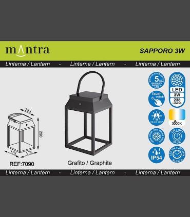 Especificaciones Lámpara sobremesa solar SAPPORO Grafito exterior 7090 Mantra