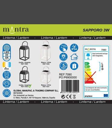Detalles técnicos Lámpara sobremesa solar SAPPORO Grafito exterior 7090 Mantra