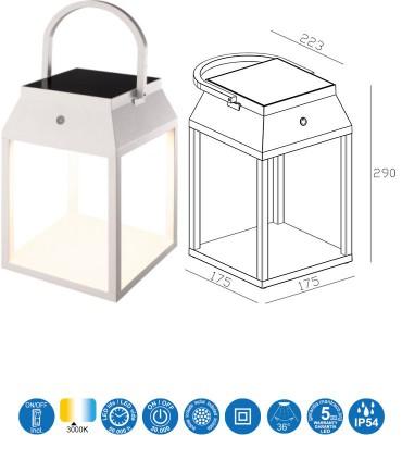 Características Lámpara sobremesa solar SAPPORO Blanco exterior 7091 Mantra