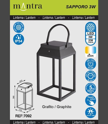 Especificaciones Lámpara sobremesa solar SAPPORO Grafito exterior 7092 Mantra