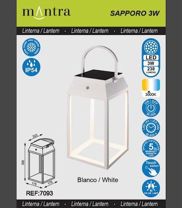Especificaciones Lámpara sobremesa solar SAPPORO Blanca Alta exterior 7093 Mantra