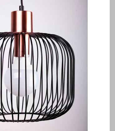 Detalle Lámpara de techo ROSELL negro-cobre Ø30