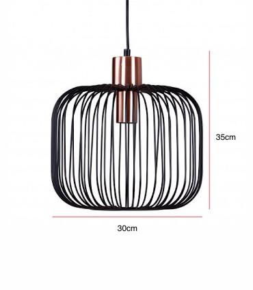 Medidas Lámpara de techo ROSELL negro-cobre Ø30
