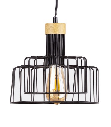 Lámpara de techo Nucia negro-madera Ø25